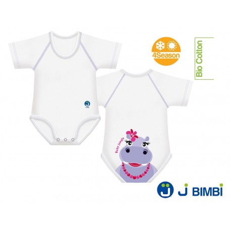 Body Bumbac Organic 4Season 0-36 luni Hipopotam