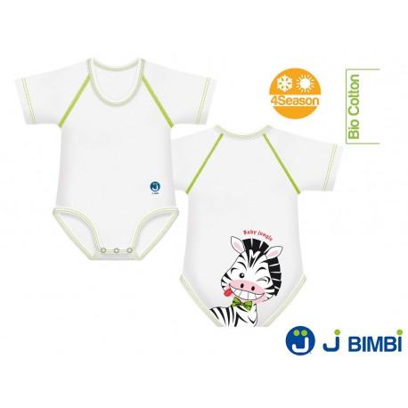 J BIMBI - Body Bumbac Organic 4Season 0-36 luni Zebra