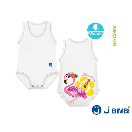 Body Bumbac Organic Summer 0-36 luni Flamingo