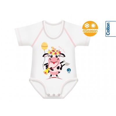 Body bebe bumbac oeko tex 4Season marime unica 0-36 luni Vaca