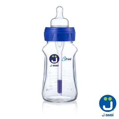 J BIMBI – Bfree Super Glass Biberon Anticolici din Sticla Termorezistenta (Borosilacata) cu Tetina Silicon 260ml