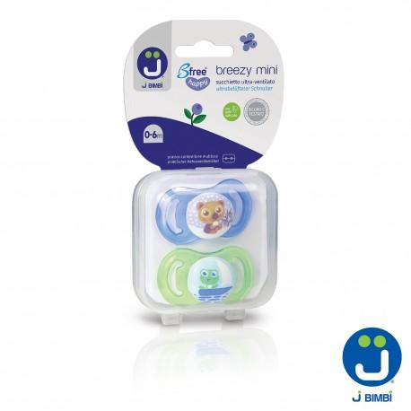 J BIMBI – Breezy Mini Suzete din silicon medicinal 0-6 luni – 2buc Albastru/Verde