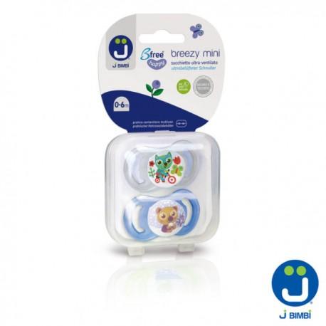 J BIMBI – Breezy Mini Suzete din silicon medicinal 0-6 luni – 2buc Transparent/Albastru