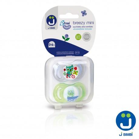 J BIMBI – Breezy Mini Suzete din silicon medicinal 0-6 luni – 2buc Transparent/Verde