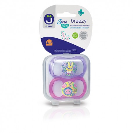 J BIMBI – Breezy Mini Suzete din silicon medicinal 0-6 luni – 2buc Mov/Roz