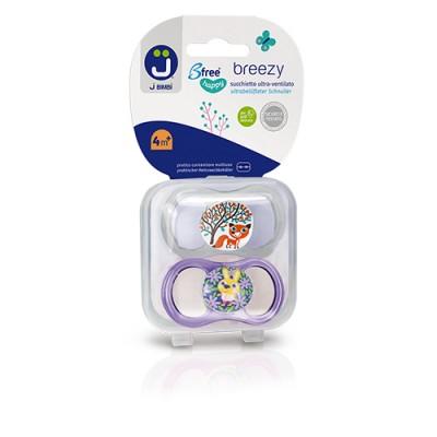 J BIMBI – Breezy Suzete ortodontice silicon medicinal 4m+ - 2buc Transparent/Mov