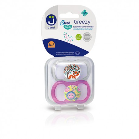 J BIMBI – Breezy Suzete silicon medicinal 4m+ - 2buc Transparent/Roz