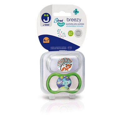 J BIMBI – Breezy Suzete silicon medicinal 4m+ - 2buc Transparent/Verde