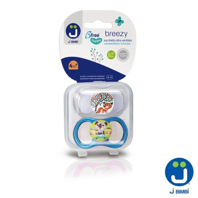 J BIMBI – Breezy Suzete silicon medicinal 4m+ - 2buc Transparent/Turcoaz