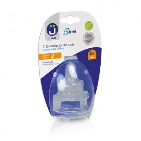 J BIMBI – Bfree Tetine ortodontice silicon medicinal pentru Classic si Super Glass Nivel 2 - Flux mediu 3m+