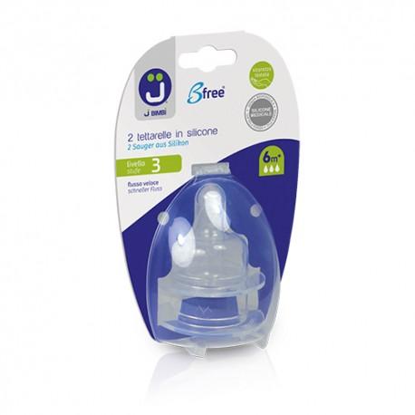 J BIMBI – Bfree Tetine ortodontice silicon medicinal pentru Classic si Super Glass Nivel 3 - Flux rapid 6m+