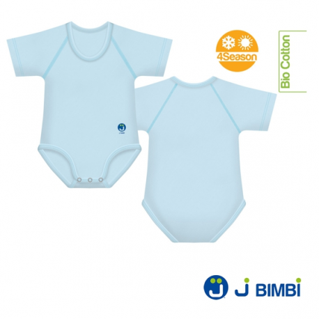 J BIMBI - Body Bumbac Organic 4Season 0-36 luni Albastru deschis